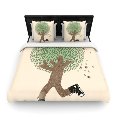 Tobe Fonseca Run for Your Life Tree Illustration Woven Duvet Cover Size: Full/Queen