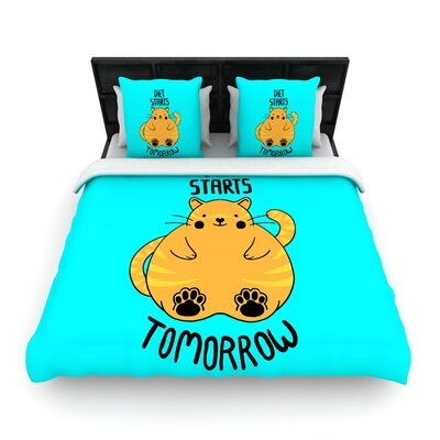 Tobe Fonseca Diet Starts Tomorrow Cat Woven Duvet Cover Size: King
