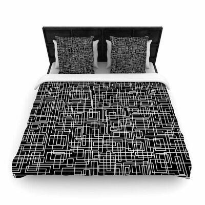 Trebam Komada V.2 Woven Duvet Cover Color: Black, Size: King