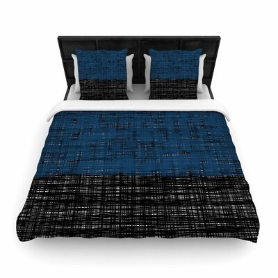 Trebam Platno Woven Duvet Cover Color: Blue, Size: Full/Queen