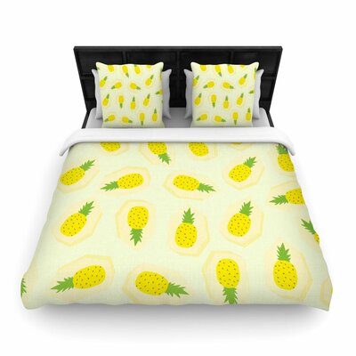 Strawberringo Pineapple Pattern Fruit Woven Duvet Cover Size: King