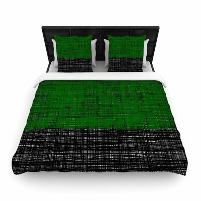 Trebam Platno Woven Duvet Cover Color: Green, Size: Twin