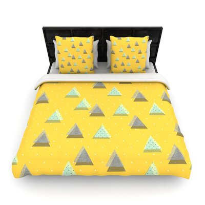 Strawberringo Triangles Geometric Woven Duvet Cover Size: King