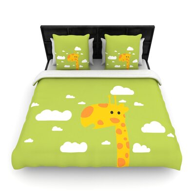 Strawberringo Baby Giraffe Woven Duvet Cover Size: King