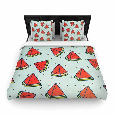 Strawberringo Watermelon Pattern Summer Love Fruit Food Woven Duvet Cover Size: King