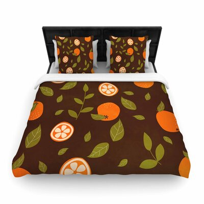Strawberringo Pattern Abstract Food Woven Duvet Cover Size: King
