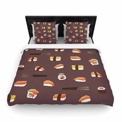 Strawberringo Sushi Pattern Woven Duvet Cover Size: King