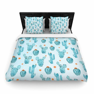 Strawberringo Cactus Pattern Woven Duvet Cover Size: Twin
