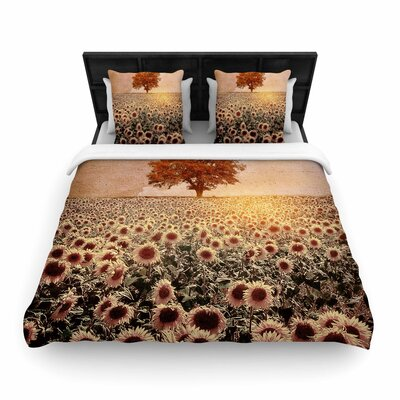 Viviana Gonzalez Lone Tree & Sunflowers Field Sunny Nature Woven Duvet Cover Size: Full/Queen