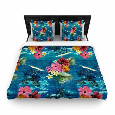 Victoria Krupp Paradise Island Floral Woven Duvet Cover Size: King