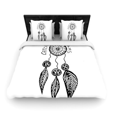 Vasare Nar Catch Your Dreams Typography Illustration Woven Duvet Cover Color: White, Size: Twin
