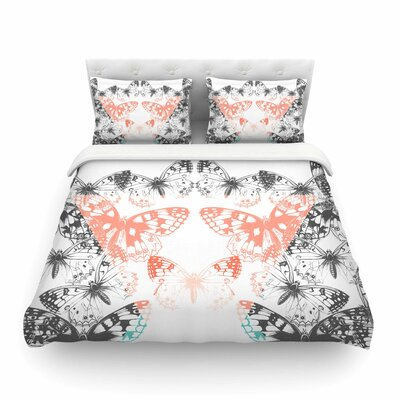 Victoria Krupp Geo Butterflies Illustration Featherweight Duvet Cover Size: King