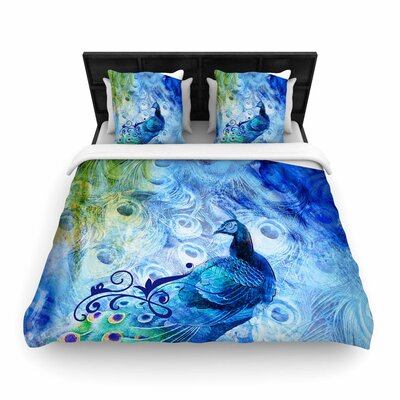 Victoria Krupp Peacock Digital Woven Duvet Cover Size: Twin