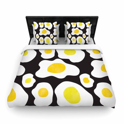 Vasare Nar Fried Eggs Pattern Pop Art Woven Duvet Cover Size: Full/Queen