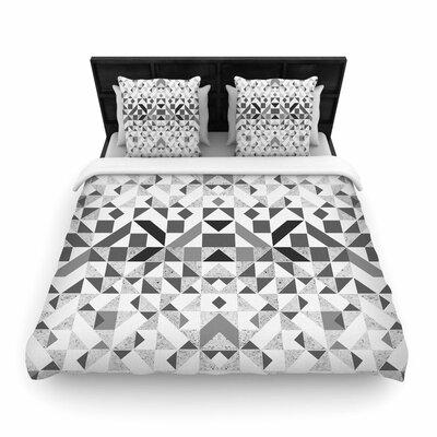 Vasare Nar Monochrome Geometric Geometric Woven Duvet Cover