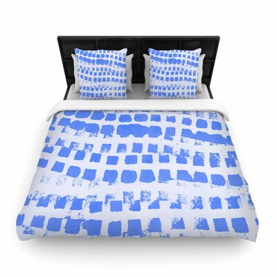 Vasare Nar Azure Squares Illustration Woven Duvet Cover Size: King