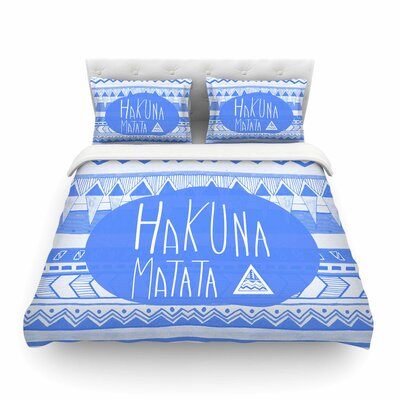 Vasare Nar Hakuna Matata Azure Illustration Featherweight Duvet Cover Size: King