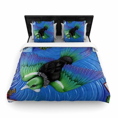 Vinny Thompson Tui Flying in Pacific Skies Woven Duvet Cover Size: King