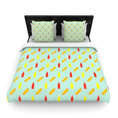 Will Wild Hot Dog Pattern II Food Woven Duvet Cover Size: Full/Queen