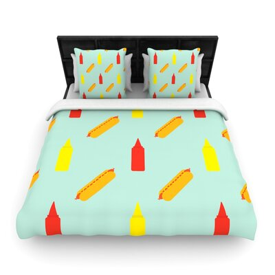 Will Wild Hot Dog Pattern Food Woven Duvet Cover Size: Full/Queen