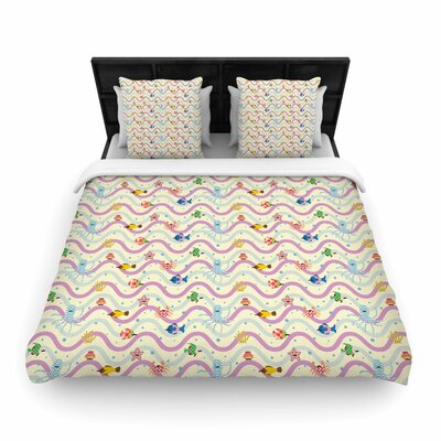 Yenty Jap Underwater World with Moustach Woven Duvet Cover Size: Twin