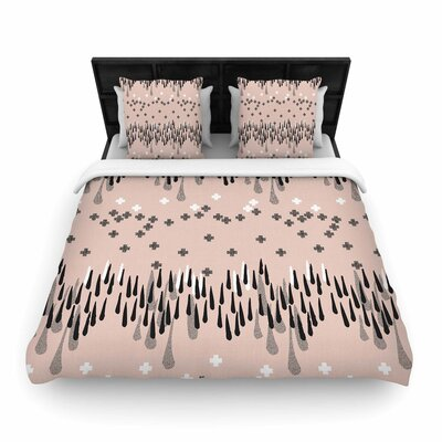 Zara Martina Masen A Drop of Memphis Pastel Woven Duvet Cover Color: Peach, Size: King