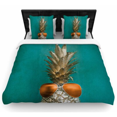 Chelsea Victoria 24 Karat Pineapple Digital Woven Duvet Cover Size: Full/Queen