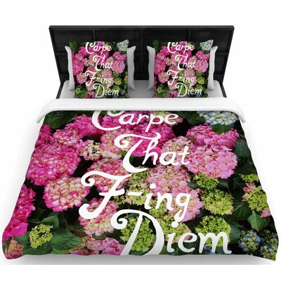 Chelsea Victoria Carpe That F-Ing Diem Woven Duvet Cover Size: Full/Queen