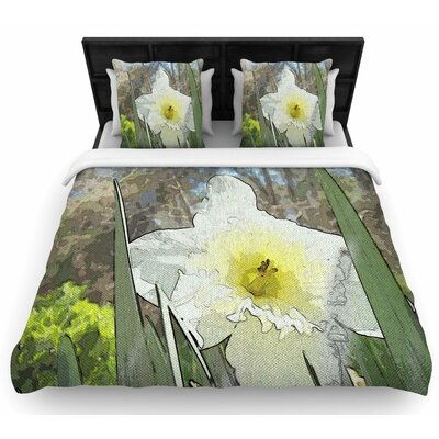 Cyndi Steen Daffodil Digital Woven Duvet Cover Size: Twin
