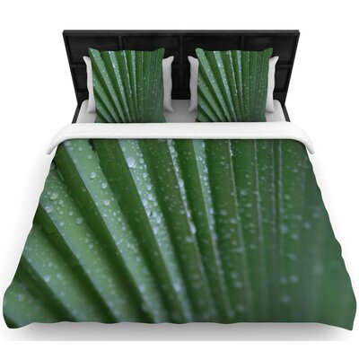 Cyndi Steen Green Palm Frond Woven Duvet Cover Size: King