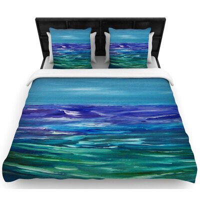 Cyndi Steen Moonlit Waves Woven Duvet Cover Size: Full/Queen