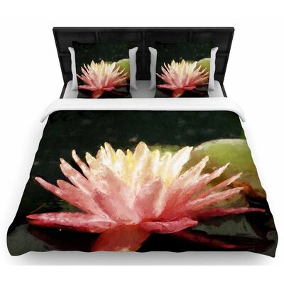 Cyndi Steen Painted Water Lily Floral Woven Duvet Cover Size: King