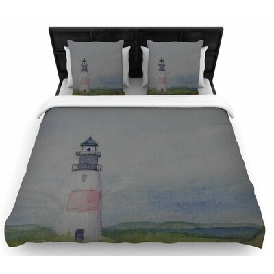 Cyndi Steen Sankaty Lighthouse Woven Duvet Cover Size: King