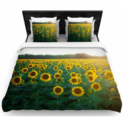 Chelsea Victoria Sunflower Fields Floral Photography Woven Duvet Cover Size: Full/Queen