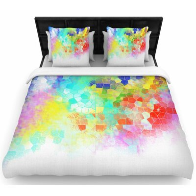 Dan Sekanwagi Color Structure Colorful Abstract Woven Duvet Cover Size: King