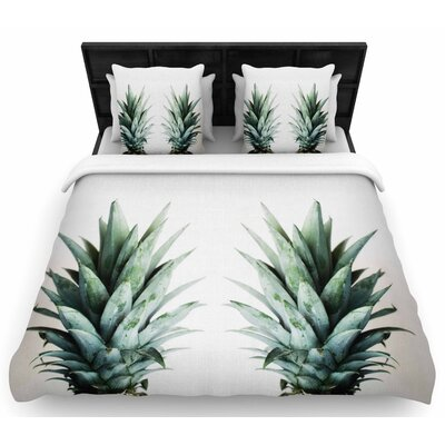 Chelsea Victoria Two Pineapples Woven Duvet Cover Size: Full/Queen
