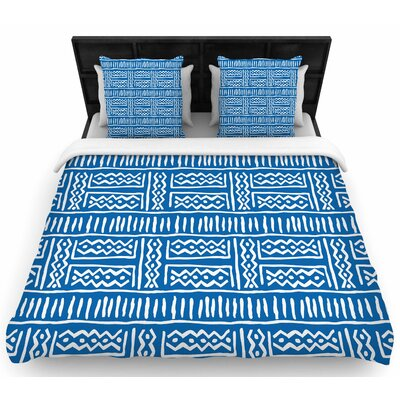 Dan Sekanwagi Lines and Zigzags Tribal Woven Duvet Cover Size: Full/Queen