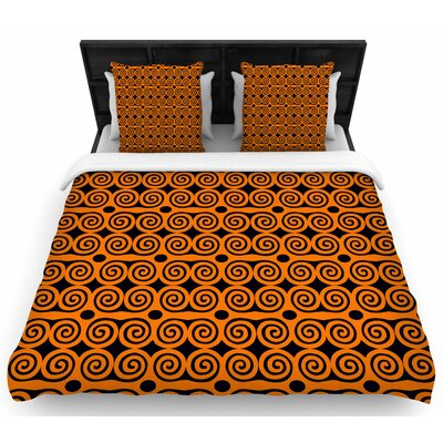 Dan Sekanwagi Locked Rams Horns -Contra Woven Duvet Cover Size: Full/Queen