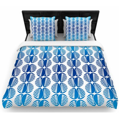 Dan Sekanwagi Poddy Combs in Blue Woven Duvet Cover Size: Full/Queen
