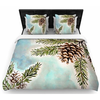 Christen Treat Pinecones and Sky Woven Duvet Cover Size: Full/Queen