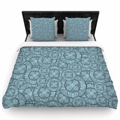 Maike Thoma Layered Circles Design Floral Woven Duvet Cover Size: Full/Queen