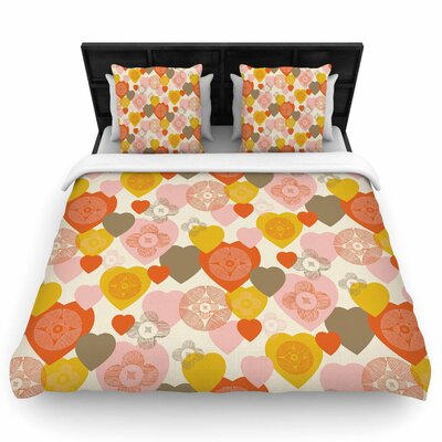 Maike Thoma Retro Hearts Design Woven Duvet Cover Size: King