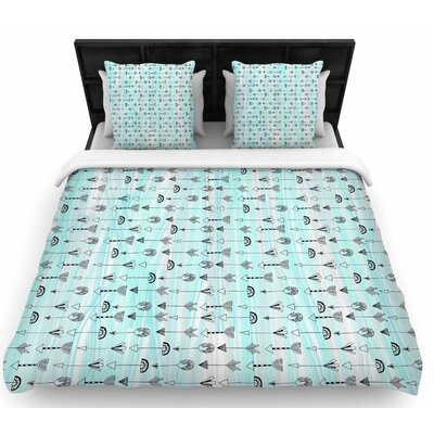 Danii Pollehn Mintyarrows Woven Duvet Cover Size: King
