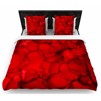 Claire Day Red Woven Duvet Cover Size: King