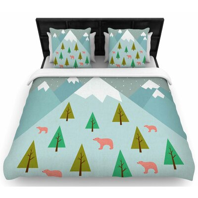Cristina Bianco Bears Illustration Woven Duvet Cover Size: King