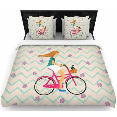 Cristina Bianco 'Bicycle Ride' Woven Duvet Cover Size: King