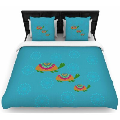 Cristina Bianco The Turtles Woven Duvet Cover Size: King