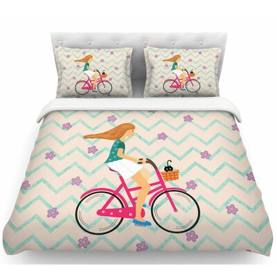 Cristina Bianco Bicycle Ride Featherweight Duvet Cover Size: Twin
