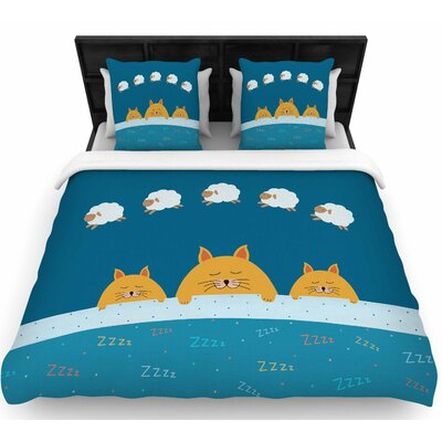 Cristina Bianco Sleeping Cats Zzzz Animals Woven Duvet Cover Size: King