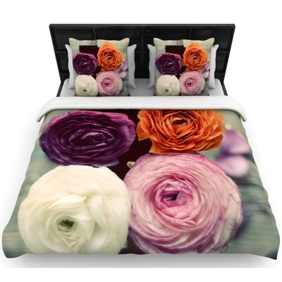 Cristina Mitchell Four Kinds of Beauty Roses Woven Duvet Cover Size: King